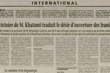 [REVUE DE PRESSE] Comment les médias ont couvert l'élection de Mohammad Khatami il y a 20 ans ?